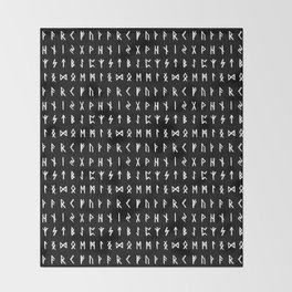 Nordic Runes // Black Throw Blanket