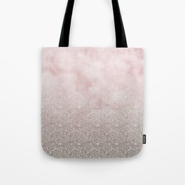 Beige glitter gradient on cotton candy clouds Tote Bag