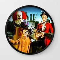 mary poppins Wall Clocks featuring PENNYWISE IN MARY POPPINS by Luigi Tarini