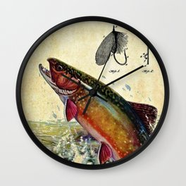 Vintage Trout Fly Fishing Lure Patent Game Fish Identification Chart Wall Clock