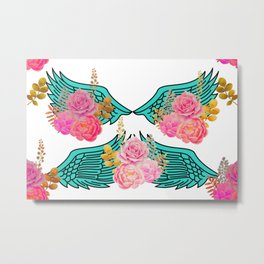 Wings and Roses Turquoise White Metal Print