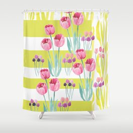 Tulips with yellow stripes Shower Curtain