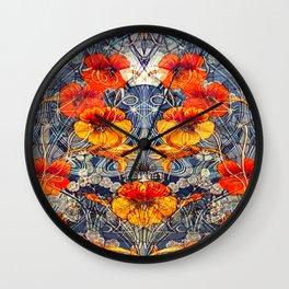 Art Nouveau Nasturtium Pattern Wall Clock
