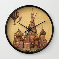 depeche mode Wall Clocks featuring Trip to Moscow by Terry Fan