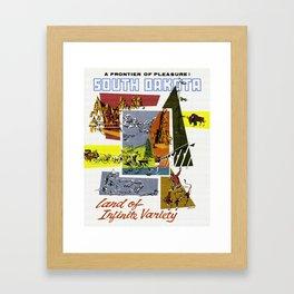 Vintage South Dakota Travel Framed Art Print