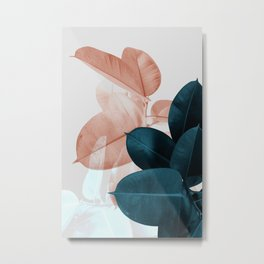 Blush & Blue Leaves Metal Print