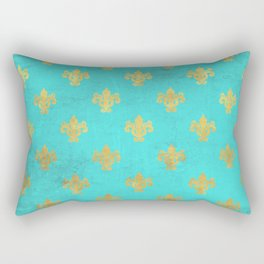 Queenlike on aqua I  Gold Heraldry elements on turquoise background Rectangular Pillow