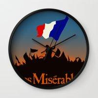 les miserables Wall Clocks featuring Les Miserables by TheWonderlander