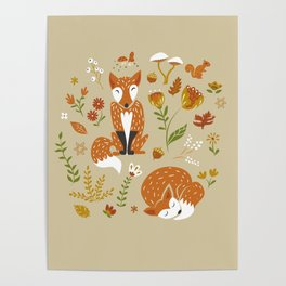 Foxes with Fall Foliage Poster