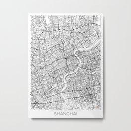 Shanghai Map White Metal Print