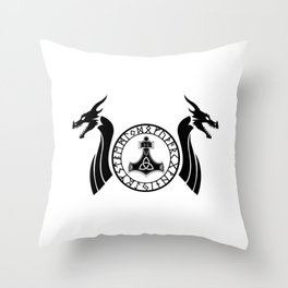 Norse Dragon - Mjolnir Throw Pillow
