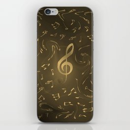 gold music notes swirl pattern iPhone Skin