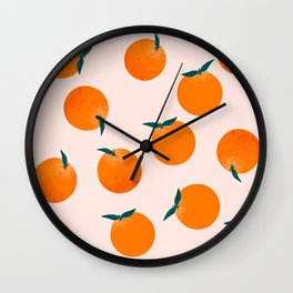 Happy little oranges Wall Clock