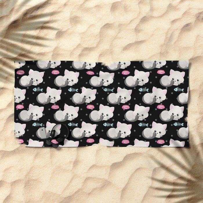 Cute Cat #1 Beach Towel