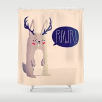 nan lawson Shower Curtains featuring Fearsome Critter by Nan Lawson