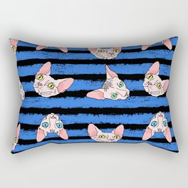 sphynx cats on blue and black Rectangular Pillow