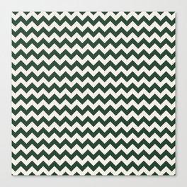 Geometrical forest green ivory modern chevron Canvas Print
