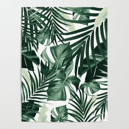 Tropical Jungle Leaves Pattern #4 #tropical #decor #art #society6 Poster