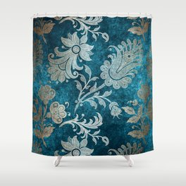 Aqua Teal Vintage Floral Damask Pattern Shower Curtain