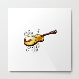 Yellow violin and notes Metal Print