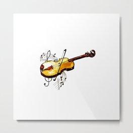 Yellow violin and notes Metal Print