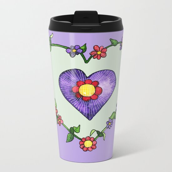 Heartily Floral Metal Travel Mug