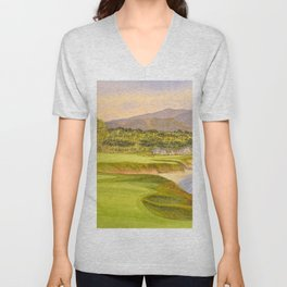 Pebble Beach Golf Course Holes 9 and 10 Unisex V-Neck
