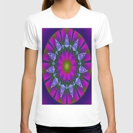 Abstract metallic flower T-shirt
