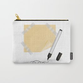 Black marker, yellow sticker with scotch tape Carry-All Pouch