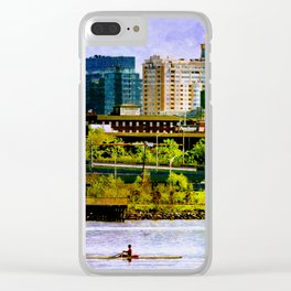 Solo rowing by Baltimore skyline Clear iPhone Case