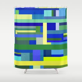 Abstract Blue Lime Pattern Shower Curtain