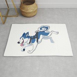 Blue Husky Running Rug