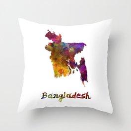 Bangladesh in watercolor Throw Pillow