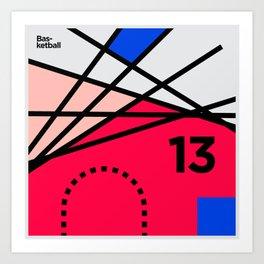 Minimal Basketball Lines Art Print