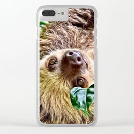 Painted Sloth Clear iPhone Case