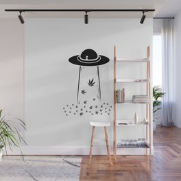 Ufo Alien 420 | Smoke Weed Cannabis Gifts Wall Mural