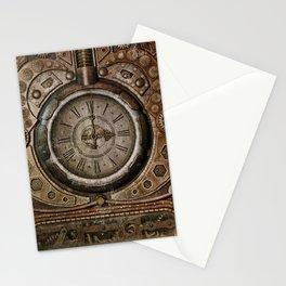 Brown Grunge Vintage Steampunk Clock Stationery Cards