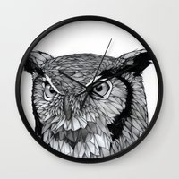 owl Wall Clocks featuring Owl by Puddingshades