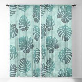 Gradient Monstera Leaves Geometric Background Sheer Curtain