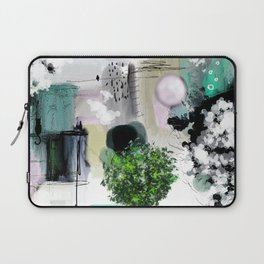 Peinture digitale maison arbres chat oiseau bulles Laptop Sleeve