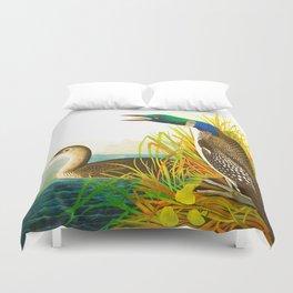 Great Norther Diver or Loon John James Audubon Scientific Birds Of America Illustration Duvet Cover
