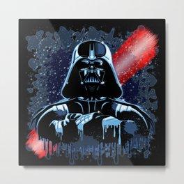 Darth Vader Mask on Dark Paint Stains Metal Print