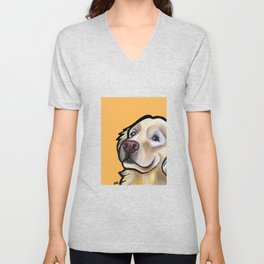 George the golden retriever (orange) Unisex V-Neck