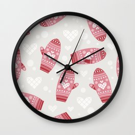 mittens background Wall Clock