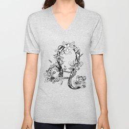 lion black and white zodiac sign Unisex V-Neck