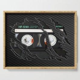 Retro classic vintage Black cassette tape Serving Tray