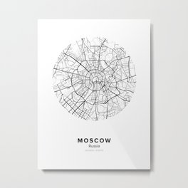Moscow Circle Map Metal Print