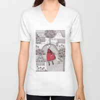 lady gaga V-neck T-shirts featuring The Old Village by Judith Clay