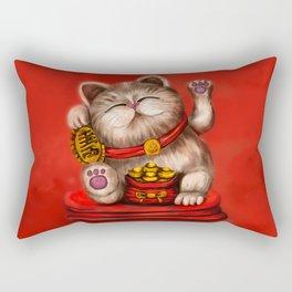 Maneki-neko Beckoning cat on red Rectangular Pillow