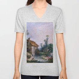 Landscape with a Watermill - Francois Boucher (1703-1770) Unisex V-Neck